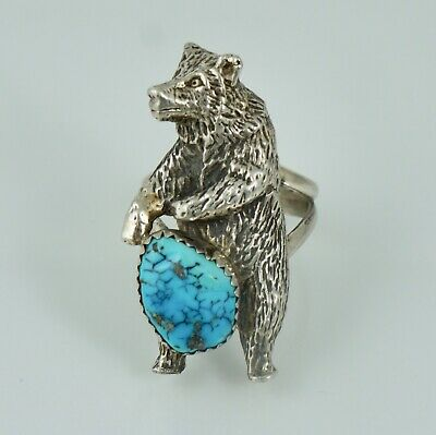 Navajo Sterling Turquoise Bear Vintage Ring Old Pawn Silver Native American