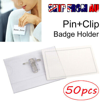 50X Clear PVC Name Badge & ID Card Holder With Pin Clip & Insert for Conference