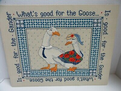 Finished Crewel Embroidery Good for Goose Good for Gander Geese Completed 14x18