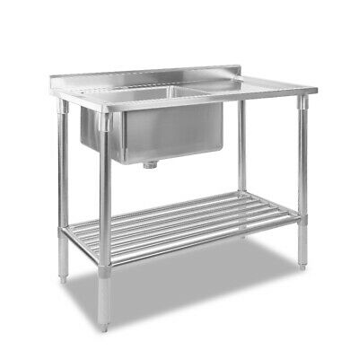 Cefito Stainless Steel Sink Bench Kitchen Work Benches Single Bowl 100x60cm 304