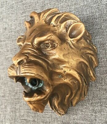 Antique french fountain tap faucet early 1900's lion head made of bronze heavy