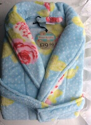 Dressing Gown Bath Robe Vintage Floral Roses Blue Pink White Soft Cosy Medium