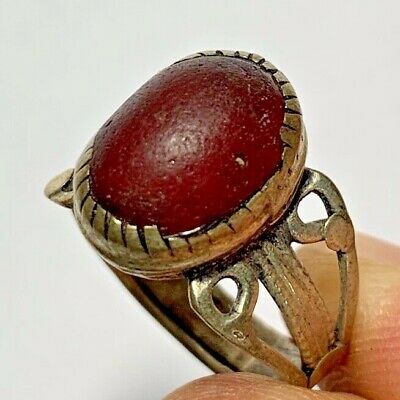 LATE MEDIEVAL SILVERED RING - RARE  STONE 4.1gr 30.5mm (inner 20.7mm)