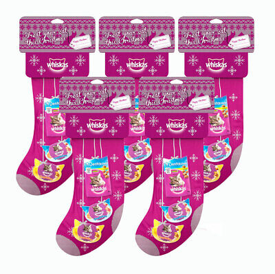 Whiskas Christmas Stocking For Cats Selection of 3 Different Treats Per Stocking