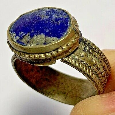 LATE MEDIEVAL SILVERED RING - LAPIS LAZULI RARE STONE 5.7gr 26.1mm (inner 20.3mm
