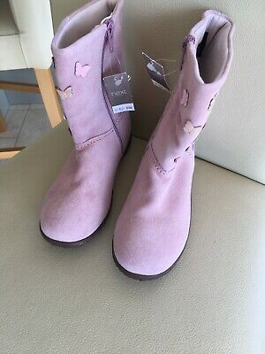 Next Leather Nubuck Suede Pink Boots Size 12 Kids