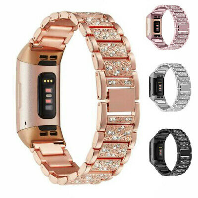 Replacement Stainless Strap Rhinestone Watch Band Strap For Fitbit charge 3