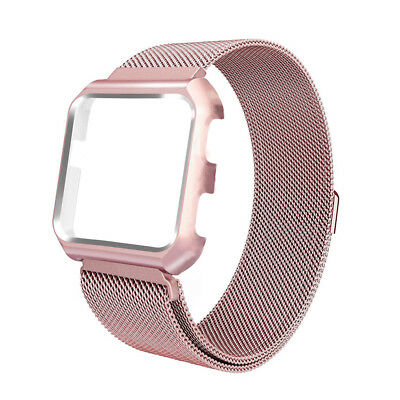 Magnetic Milanese Loop Strap + Frame Case Wrist Watch Band  For Fitbit Versa