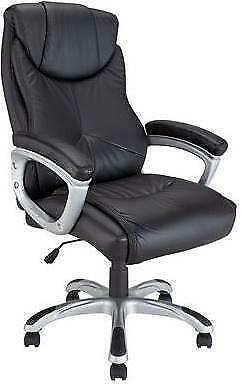 Black Professional Leather Height Adjustable Chair Home or Office Executive