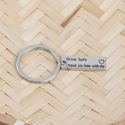 Hand Stamped Keyring Drive Safe I Need You Here With Me Heart Charm Keychain ·