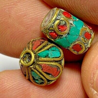 LOT OF 2 pcs LATE MEDIEVAL BEADS GOLDPLATED - COLORED PENDANT VERY NICE