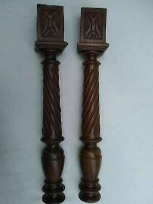 Pair Of Antique French Turned, Twist Fluted And Carved Walnut Columns C1900