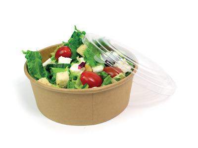 Disposable Takeaway 750ml Salad Box Bowls + Lids Recyclable Fast Food Packaging