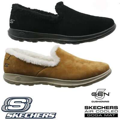 Ladies Skechers Go Step Relaxed Fit Memory Foam Fur Slippers Shoes Trainers Size