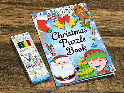 Christmas Puzzle Book & Pencils Party Bag Colouring Teacher Gift Stocking Filler