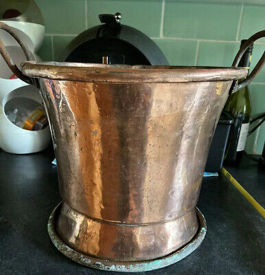 Antique Large Victorian Copper Bucket  Solid Heavy