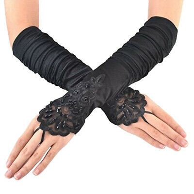 Women Ladeis Long Lace Floral Fingerless Gloves Gothic Bride Wedding Mittens US