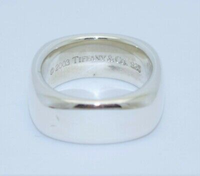 TIFFANY & CO Sterling Silver Square Cushion Shaped Ring Band 8-mm Size 6 ©2003