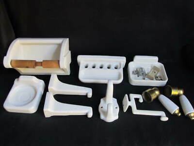 Antique Porcelain Bathroom Fixtures Soap Toothbrush Holder Toilet Paper Hooks