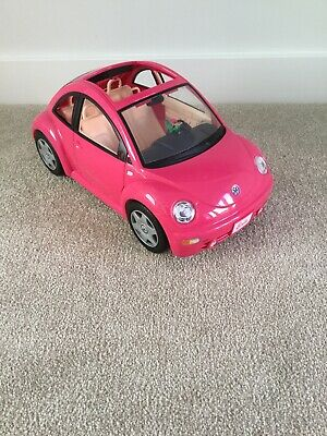 Barbie Car Pink VW Beetle Mattel  with a pink daisy