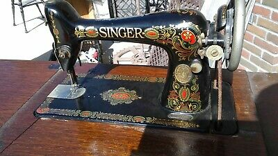 Antique 1910 singer treadle machine head Model 66 Red Eye Sews Leather Works fin