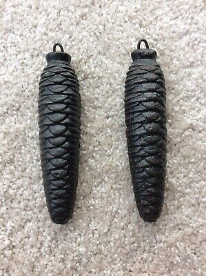 (2) Vintage Cast Iron Pine Cone weights Cuckoo Clock approx 14 1/2 oz each