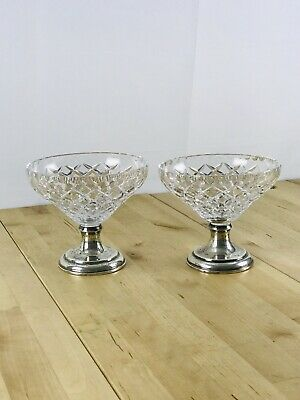 Antique Set of 2 Hawkes Sterling Silver Mounted Crystal Glass Punch/Fruit Bowl