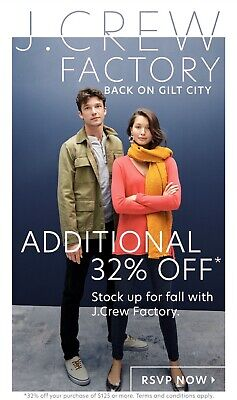 J.crew Factory Extra 32% Off $125+ Purchase Coupon Code Includes Sale Styles