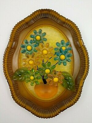 Vintage 60s Mid Century Modern Lucite Acrylic Flowers Vase Wall Plaque Yellow