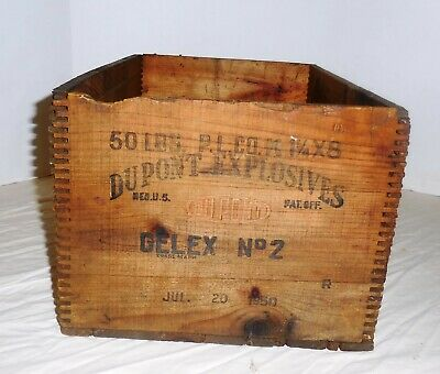 Vintage Dupont Dynamite Wooden Box Dovetail High Explosives Crate