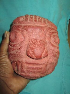 "Chavin stone ""tenon-head."" Precolumbian, moche, color red unique , Pre columbian"