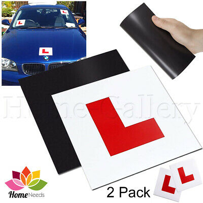 2 Fully Magnetic Car L Plates Sign 15 x 15 cm Secure Quick Easy To Fix Learner