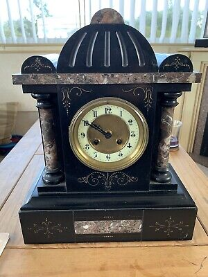 Victorian  marble mantel clock key wind working with key