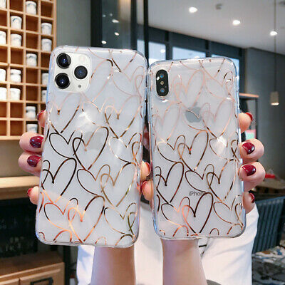 Plating Love Heart Soft Clear Slim Case Cover For iPhone 11 Pro XR Max XS X 8 7