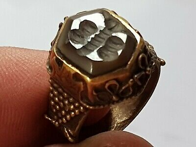 Exeptional Extremely Rare Medieval Silvered Ring Seal/Bee 7,9 Gr.18 Mm