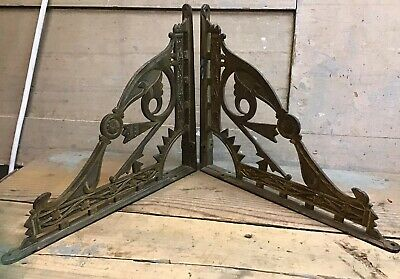 1 Pair Vintage Eastlake Aesthetic Movement Cast Iron Shelf Brackets