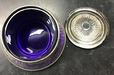 Beautiful Antique Sheffield Plated Silver Biscuit Jar W. Cobalt Blue Glass Liner