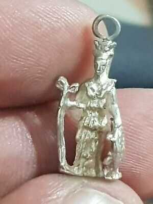 Extremely Rare Late Medieval Silver Pendat Statue Of Athena/Shield.2,6 Gr.24 Mm