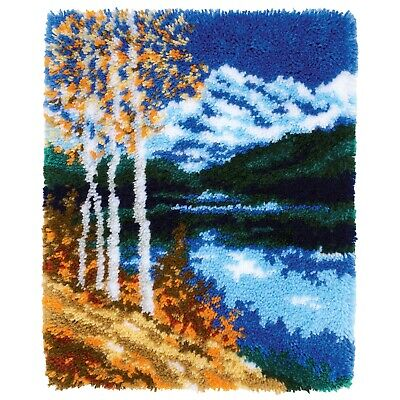 BIRCH TREE MOUNTAIN LAKE LATCH HOOK RUG KIT by VERVACO from UK Seller
