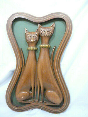 Vintage Mid Century Modern Retro Atomic Syroco Siamese Cats Wall Hanging A
