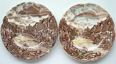 "2 Vintage Johnson Bros Olde English Countryside 6-1/4"" Bread & Butter Plates VGC"