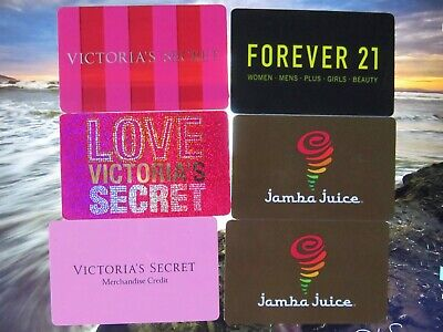 $64.28 Value Deal-Victoria's Secret-Forever 21-Jamba Juice Physical Gift Cards!