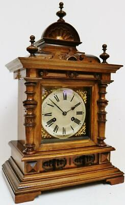 Antique German Carved Mahogany Architectural 8 Day Gong Striking Bracket Clock