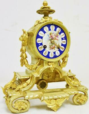 Antique French 8 Day Bronze Ormolu & Sevres Porcelain Bell Striking Mantle Clock