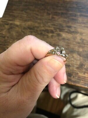 Antique Vintage 14k Diamond Semi Mount Ring For Gemstone Of Choice Art Deco Nice