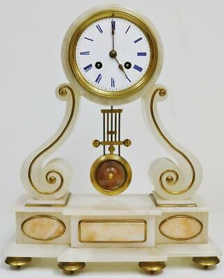 Antique French 8 Day Striking Marble & Brass Scroll Pillar Portico Mantel Clock
