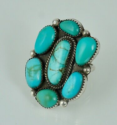 Navajo Sterling Blue Turquoise Vintage Old Pawn Ring Silver Large Big Sz 8.75