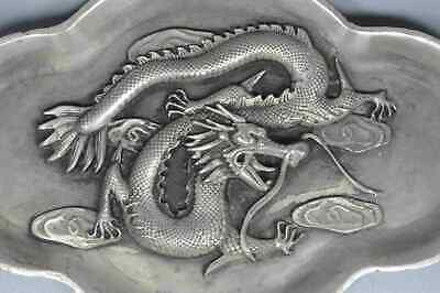 Collectable Handwork Miao SIlver Carve Dragon Play Bead Exorcism Souvenir Statue