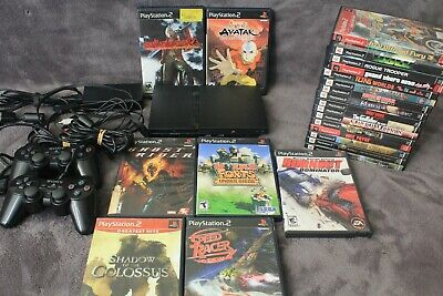 Sony PS2 slim PlayStation 2 SCPH 75001 23 Games , 2 PS2 Controller and Cords