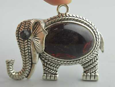 Collectable Handwork Miao Silver Carve Elephant Inlay Agate Auspicious Pendant